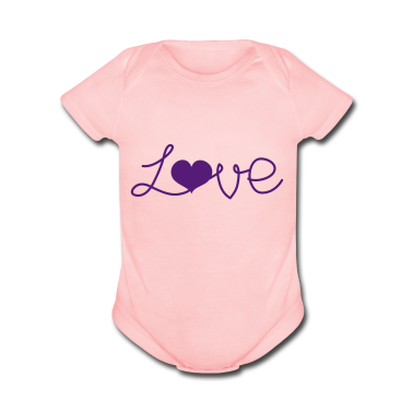 Light pink LOVE written with a love heart  Baby Body