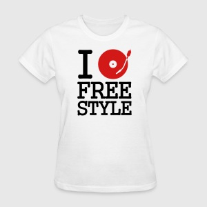 White I dj / play / listen to freestyle Women's T-Shirts - Women's T-Shirt