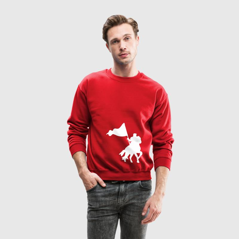 Red MEDIEVAL FESTIVAL knight on a horse with a flag  Long Sleeve Shirts - Crewneck Sweatshirt