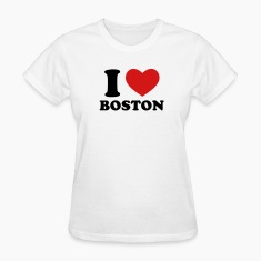 White I Love Boston Women's T-Shirts