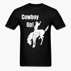 Cowboy Up Mens Black T Shirt
