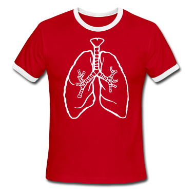 Red/white LUNGS breathe breath lung rough T-Shirts
