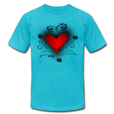 Turquoise Red Heart Swirls Circles, DIGITAL DIRECT PRINT T-Shirts