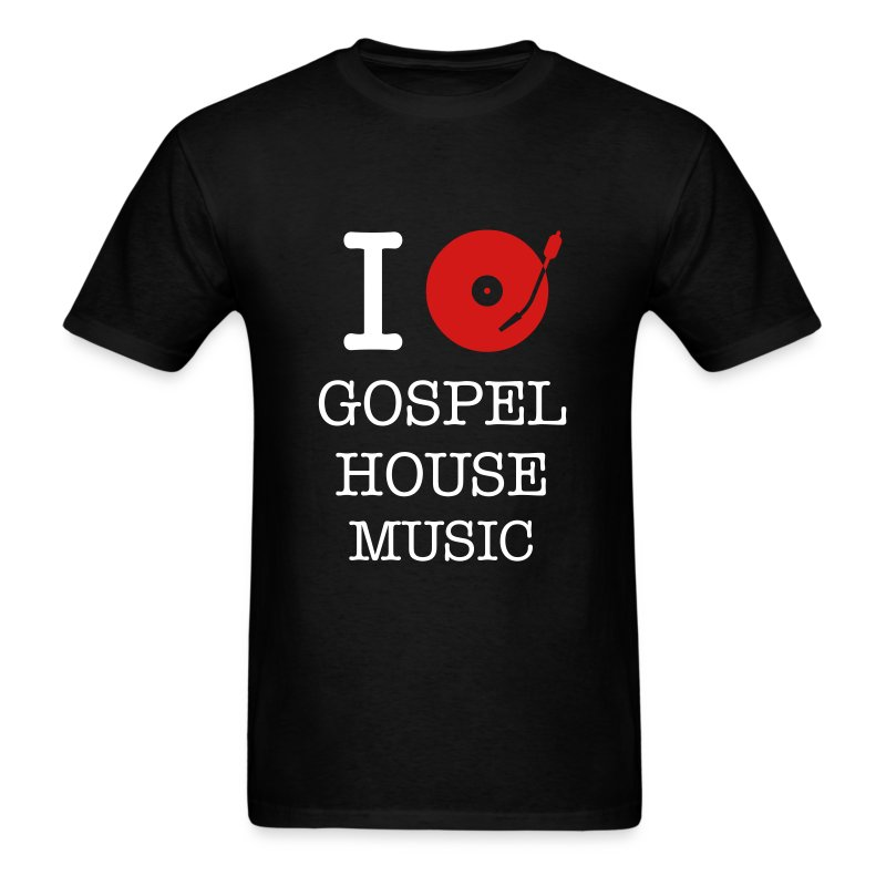 I Spin Gospel House Music (Black T) - Men's T-Shirt