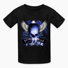 Black skull_and_wings_and_guitars_b Kids' Shirts