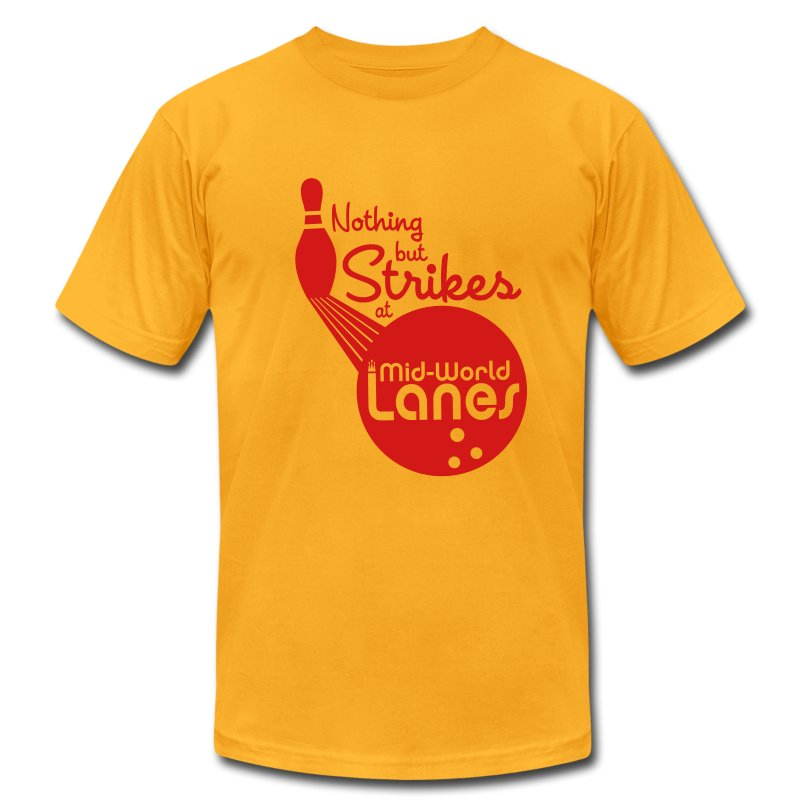Nothing but Strikes at Mid-World Lanes - Men's T-Shirt by American Apparel