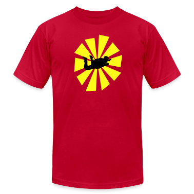 Red Skydiver With Sun Rays T-Shirts
