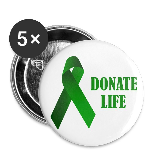 Donate Life Ribbon (5)Pin-On Buttons   Buttons large 2 2'' (5-pack)