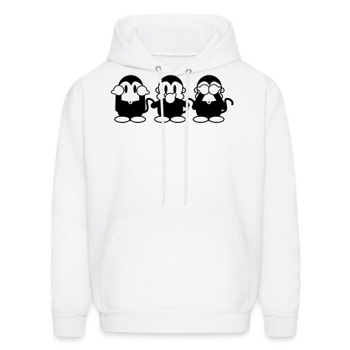 3 Monkeys - white hoodie - Men's Hoodie