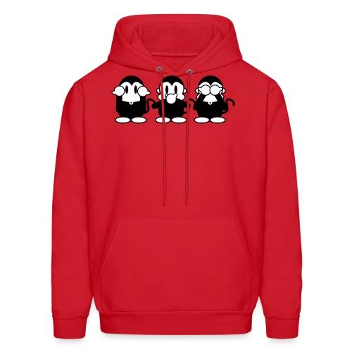 3 Monkeys - red hoodie - Men's Hoodie