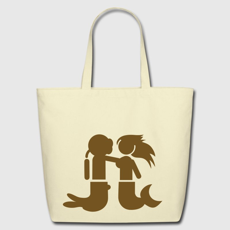 Creme MERMAID being felt up by a diver pretending to be a merman Bags  - Eco-Friendly Cotton Tote