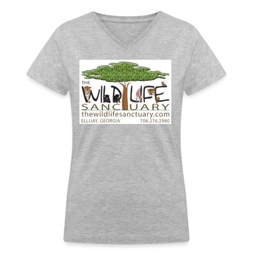 Women's V-Neck T-Shirt with Logo front - Women's V-Neck T-Shirt