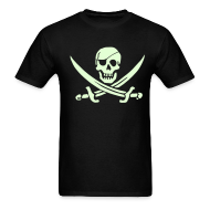 T-Shirts ~ Men's T-Shirt ~ PIRATES of the CARIBBEAN T-Shirt Pirate Flag Glow in the Dark Tee