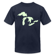 T-Shirts ~ Men's T-Shirt by American Apparel ~ Just Michigan Glow in the Dark Men's American Apparel Tee