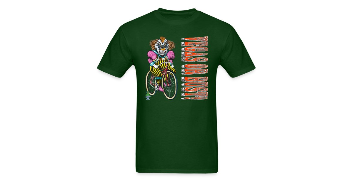 Greenboy Inc Evil Clown T Shirt Vegas Or Bust Mens T Shirt