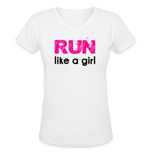 run like a girl - Women's V-Neck T-Shirt