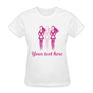 Women's T-Shirts ~ Women's T-Shirt ~ Pink Ribbon Ladies - Add your Own Text T-shirt