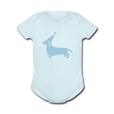 Sky blue little dachshund miniture dog in a cute party hat Baby Body