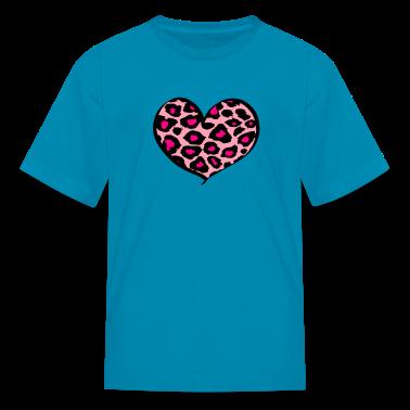 Hot pink cheetah heart Kids' Shirts