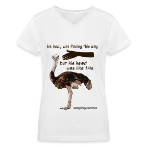 Women's Ostrich T-Shirt - Women's V-Neck T-Shirt