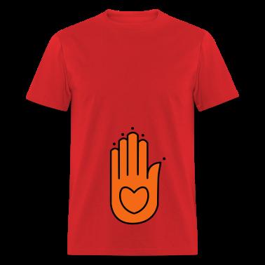 Red Hindu Hindi Indian hand T-Shirts