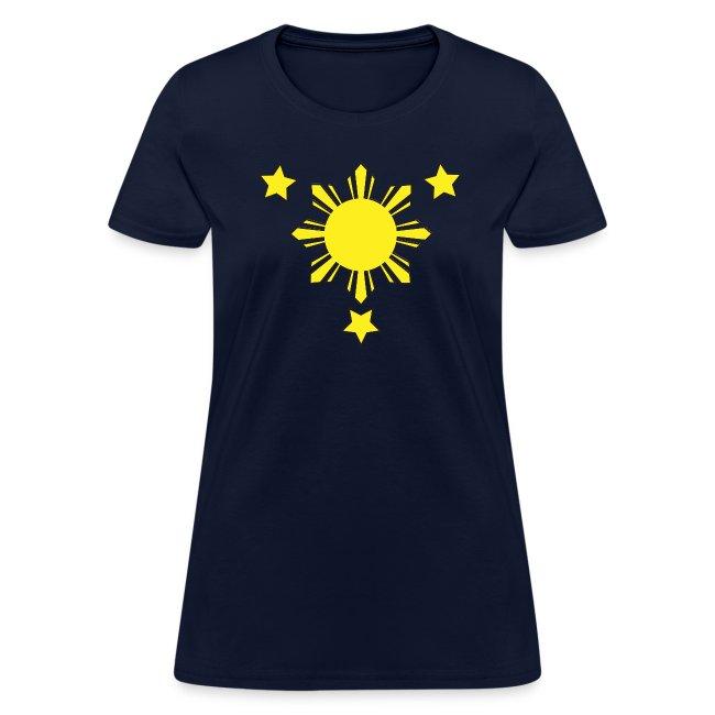 Standard Women's T-Shirt with 3 Stars and a Sun Logo