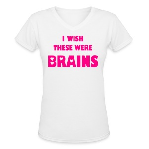 Boobs for Brains - Women's V-Neck T-Shirt