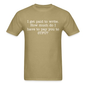 Paid to write - mens std, wht txt - Men's T-Shirt