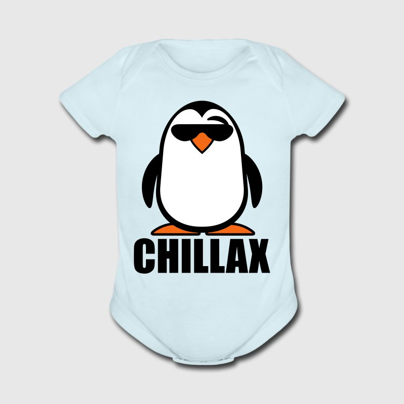 Sky blue Chillax Penguin Baby Body - Short Sleeve Baby Bodysuit