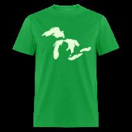 T-Shirts ~ Men's T-Shirt ~ Just Michigan Glow in the Dark Men's Standard Weight T-Shirt