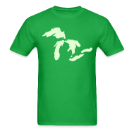 T-Shirts ~ Men's T-Shirt ~ Just Michigan Glow in the Dark Men's Standard Weight T-Shirt