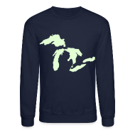Long Sleeve Shirts ~ Crewneck Sweatshirt ~ Just Michigan Glow in the Dark Men's Crewneck Sweatshirt