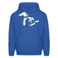 Hoodies ~ Men's Hoodie ~ Just Michigan Glow in the Dark Men's Hooded Sweatshirt