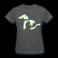 T-Shirts ~ Women's T-Shirt ~ Just Michigan Glow in the Dark Women's Standard Weight T-Shirt