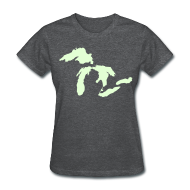 Women's T-Shirts ~ Women's T-Shirt ~ Just Michigan Glow in the Dark Women's Standard Weight T-Shirt