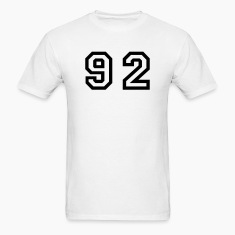 White Number - 92 - Ninety Two T-Shirts