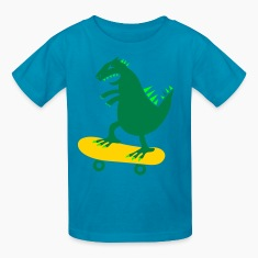 Orange skateboarding godzilla skate surf funny Kids' Shirts