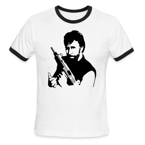 Chuck Norris with Gun Ringer T-Shirt - Men's Ringer T-Shirt
