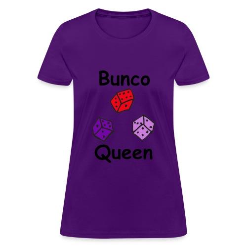 Bunco Queen 3 Dice Black Letters - Women's T-Shirt