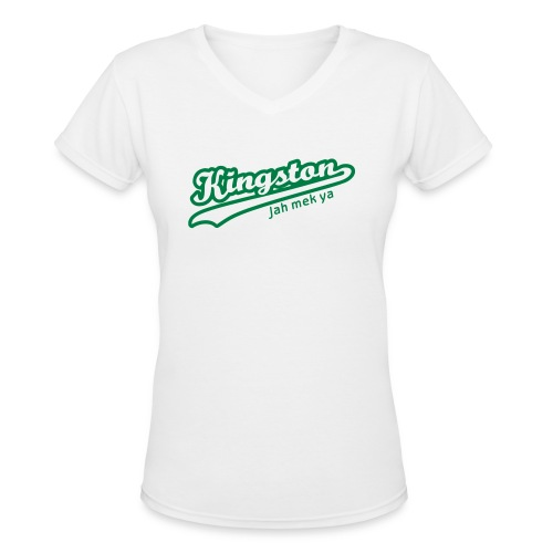 Kingston Jah Mek Ya - Women's V-Neck T-Shirt