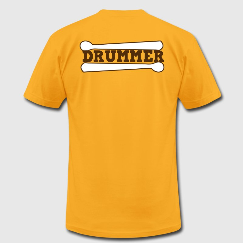 Gold drummer drums drum with drumsticks T-Shirts - Men's T-Shirt by American Apparel
