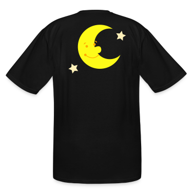Black MAN IN THE MOON SMILING T-Shirts