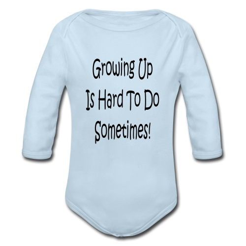 boys blue with logo - Organic Long Sleeve Baby Bodysuit