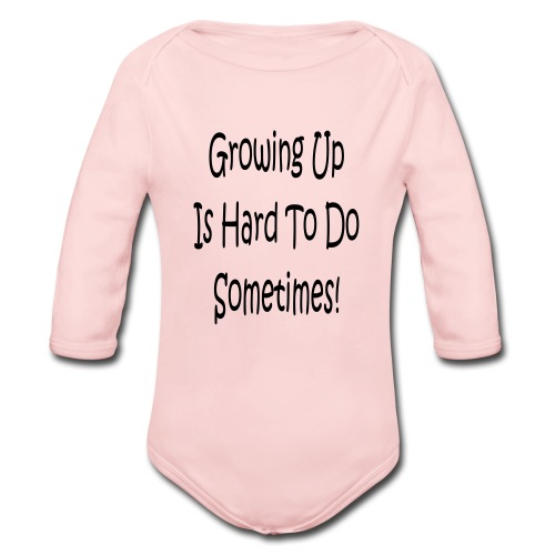 girls pink with logo - Organic Long Sleeve Baby Bodysuit