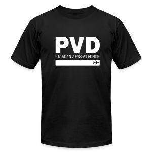 Providence airport code United States  PVD  black t-shirt - Men's T-Shirt by American Apparel