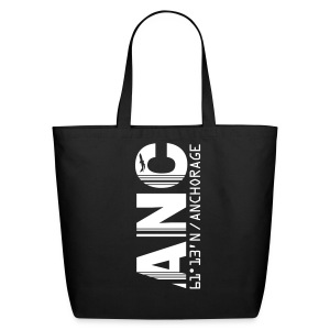 Alaska airport code United States  ANC black tote / beach  bag - Eco-Friendly Cotton Tote