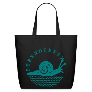 snail tote bag teal logo on black - Eco-Friendly Cotton Tote