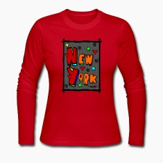 Red Funky New York, Art In Frame--DIGITAL DIRECT PRINT Long Sleeve Shirts