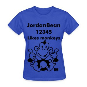 JordanBean12345 Likes Monkeys Girls - Women's T-Shirt