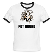 T-Shirts ~ Men's Ringer T-Shirt ~ POT HOUND - TRINI DOG - RINGER T-SHIRT - IZATRINI.com